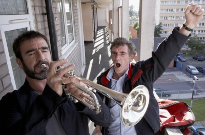 Cantona blowing his own trumpet. Boom!
